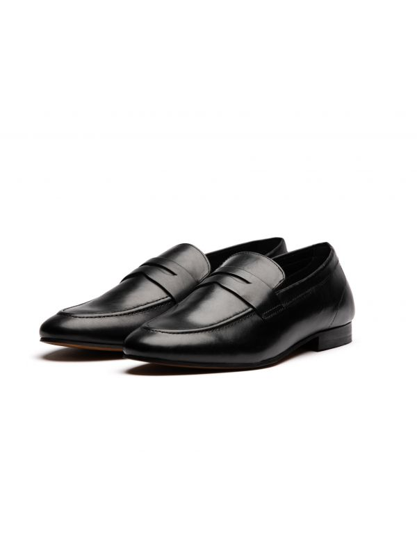 Mens Bolton Black Saddle Loafer three quarter