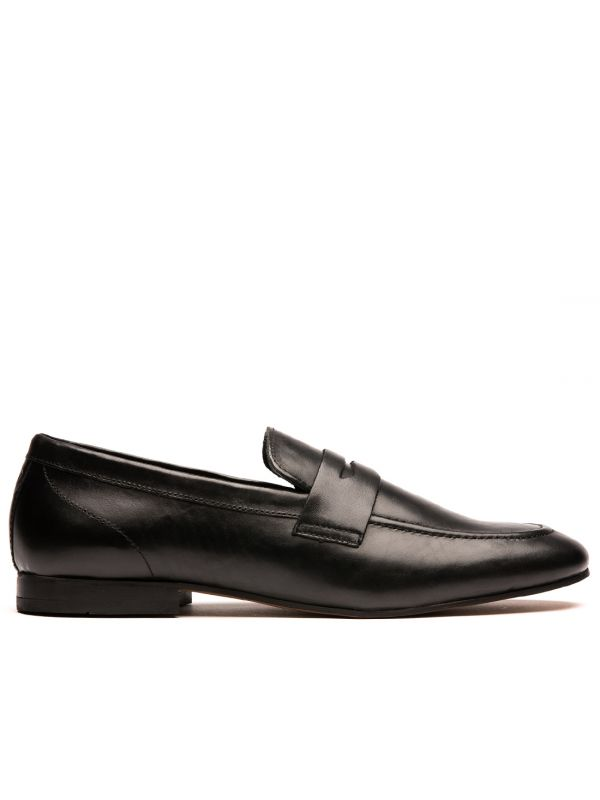 Mens Bolton Black Saddle Loafer Side