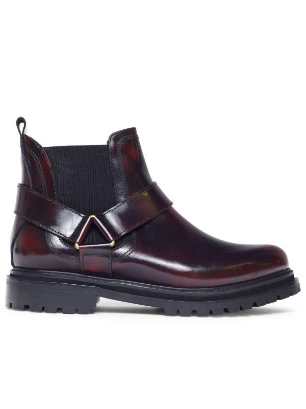 Moss Patent Bordeaux Chelsea Boot Side