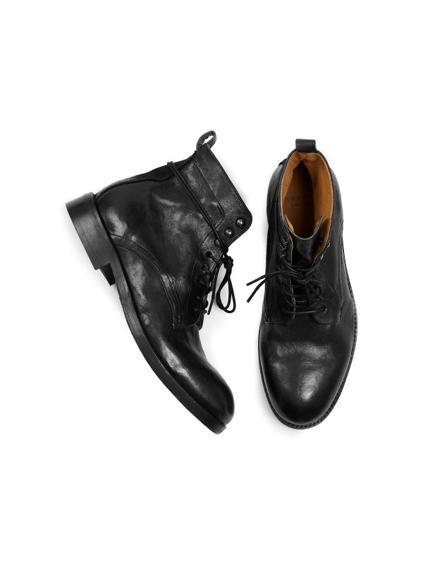 Mens Yew Leather Black Boot Top
