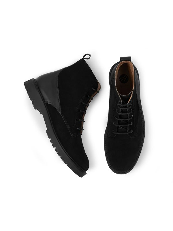 Mens Perry Suede Black Boot Top