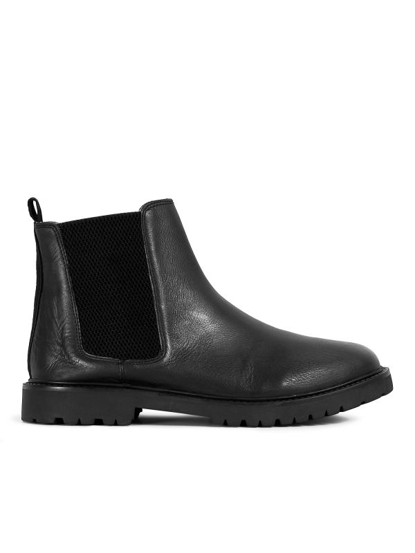 Mens Webber Black Chelsea Boot Side