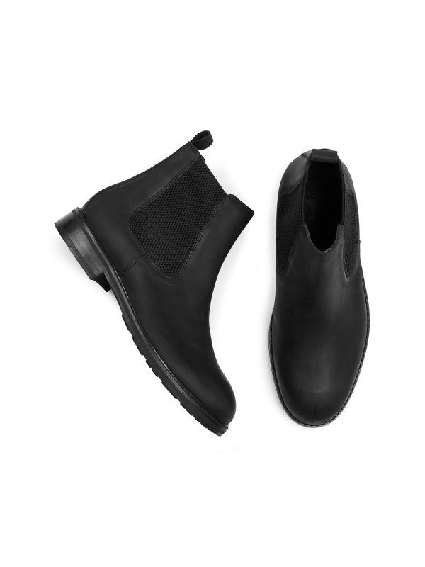Mens Hewitt Black Chelsea Boot Top