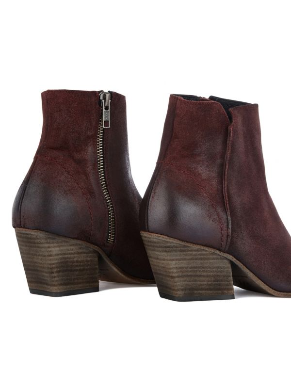 Zip Heeled Boot Mystic Suede Bordeaux