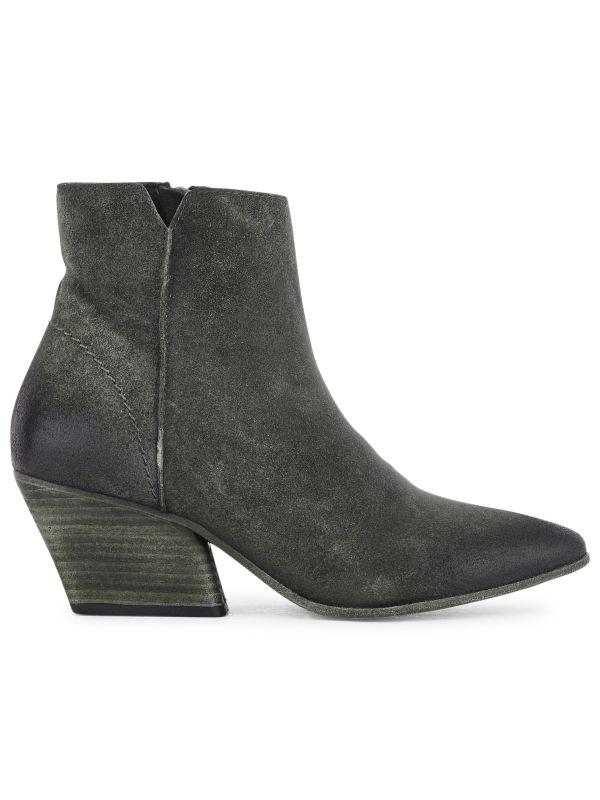 Zip Heeled Boot Mystic Suede Grey Side VIew