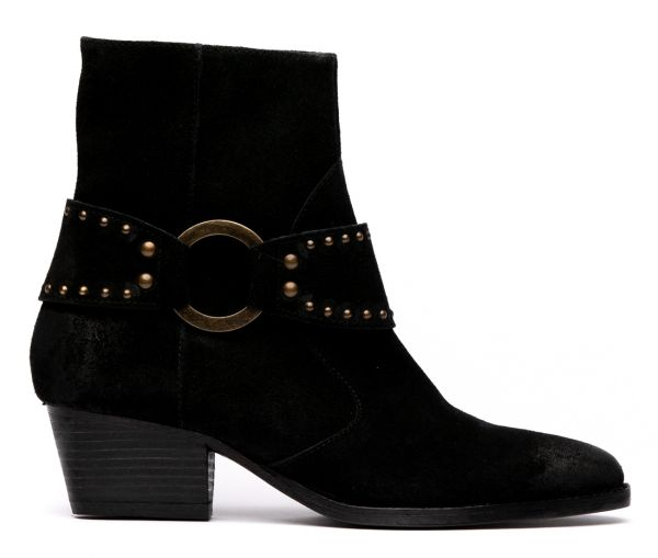 Rodeo Suede Black Heeled Boot