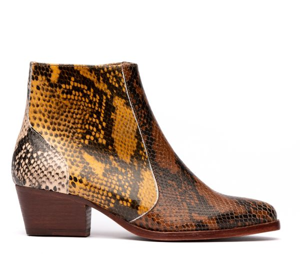 Hedemann Snake Print Tan Boot