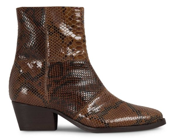 Womens Fogg Snake Print Brown Boot Side