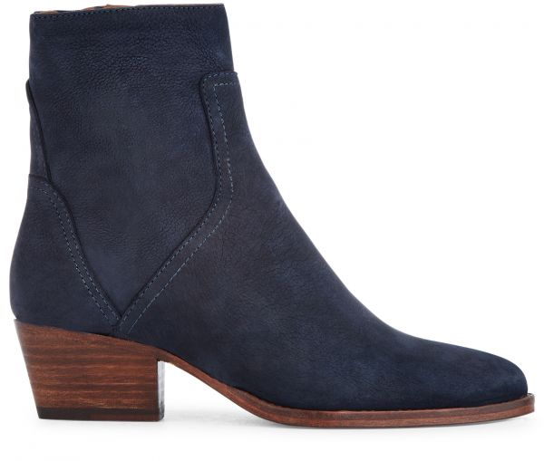 Zip Heeled Boot Beryl Nubuck Navy Side View