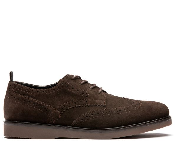 Mens Calverston Suede Brown Brogue Shoe Side