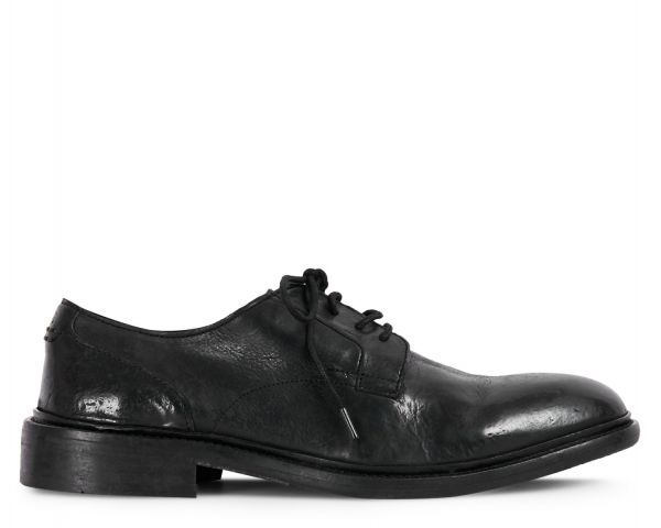 Mens Kline Black Derby Shoe Side