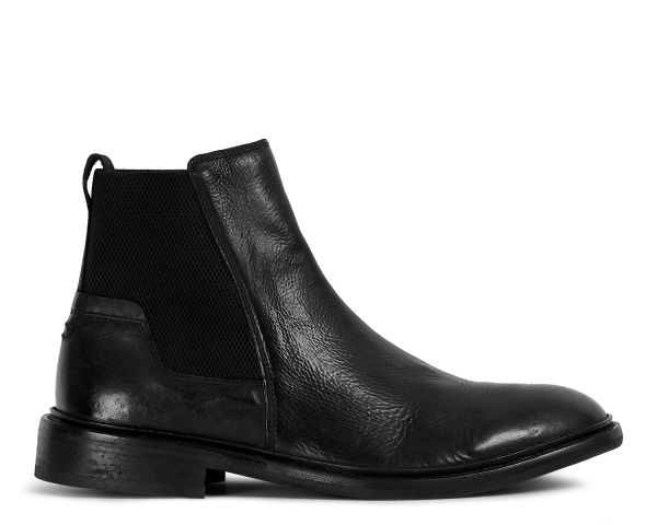 Mens Hoffmann Black Chelsea Boot Side