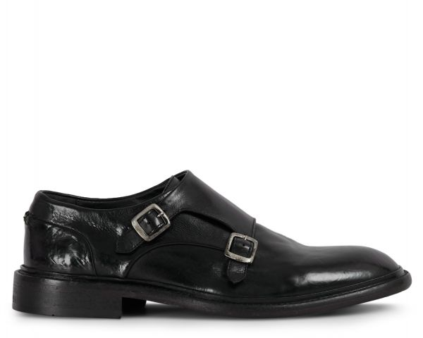 Mens Gable Black Monk Shoe Side