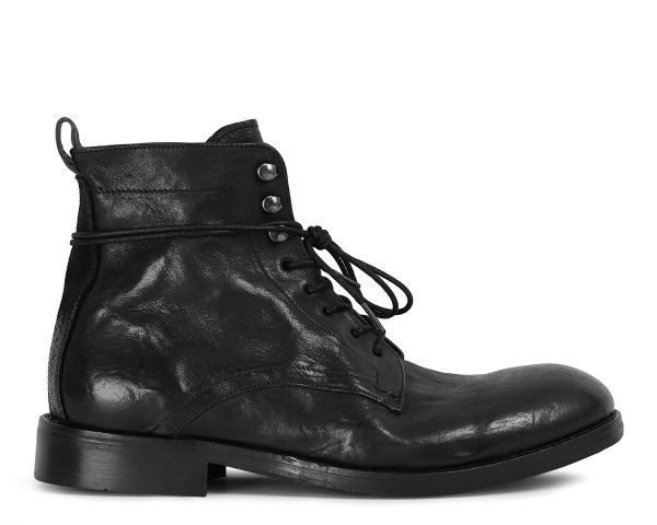 Mens Yew Leather Black Boot Side