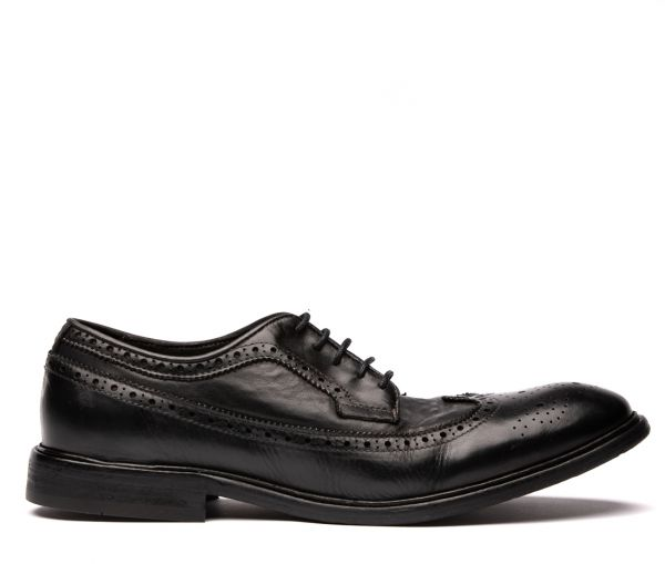 Claude Drum Dye Black Brogue Shoe