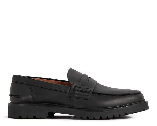 Mens Radcliffe Black Saddle Loafer Side