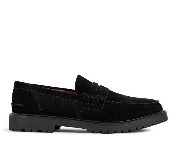 Mens Radcliffe Suede Black Saddle Loafer Side