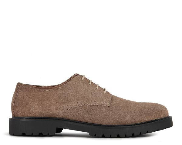Mens Atol Suede Taupe Derby Shoe Side