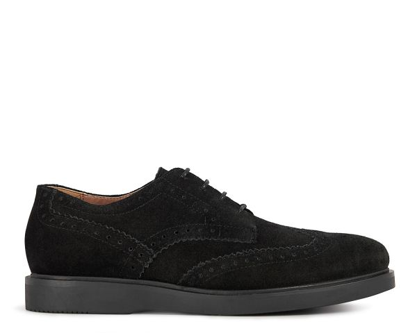 Mens Calverston Suede Black Brogue Shoe Side