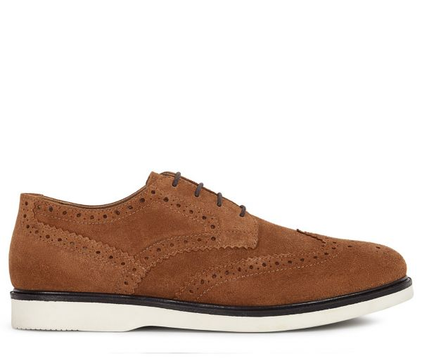 Mens Calverston Suede Tan White Brogue Shoe Side