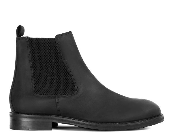 Mens Hewitt Black Chelsea Boot Side