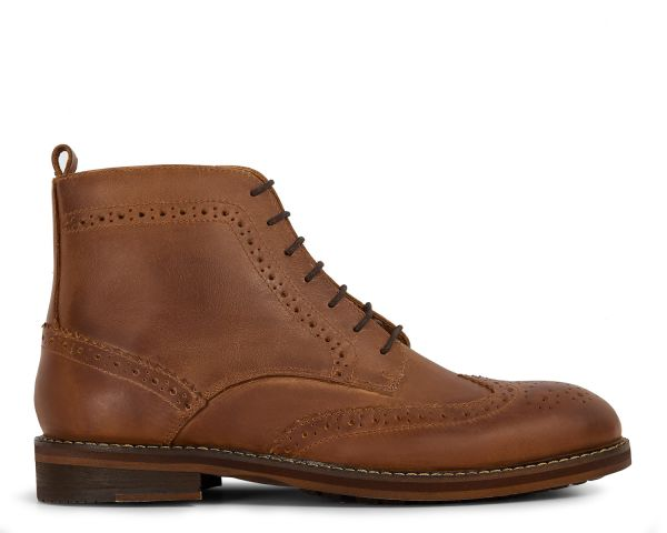 Mens Dayton Tan Brogue Boot Side