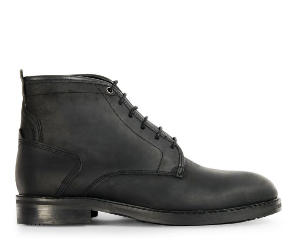 Mens Leland Black Lace Up Boot Side