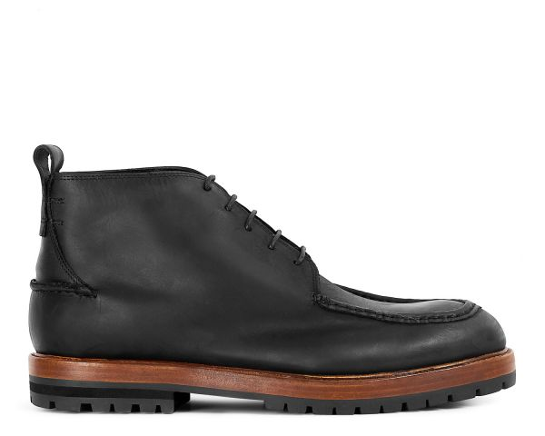 Mens Brennan Black Chukka Boot Side