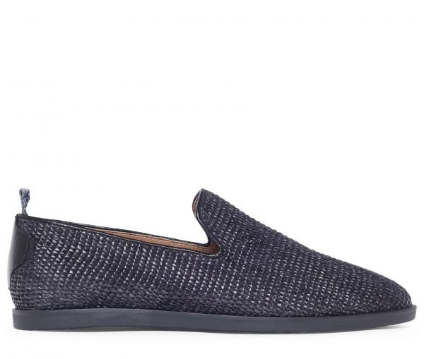 Parker Raffia Black Slip On Loafer