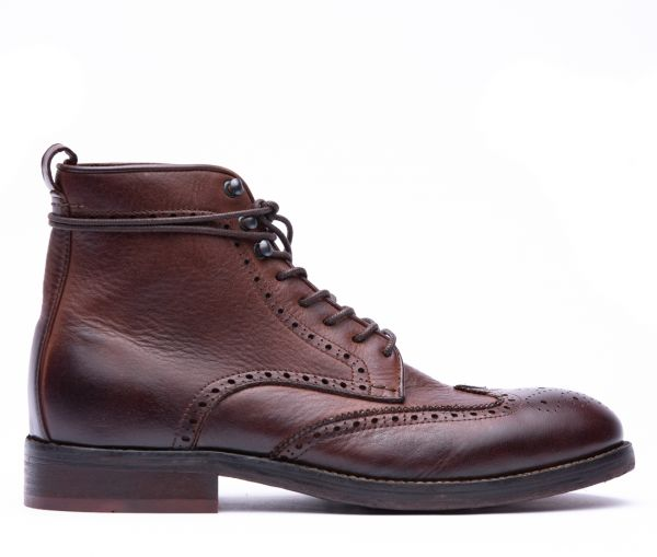 Mens Sherwood Drum Dye Brown Brogue Boot Side
