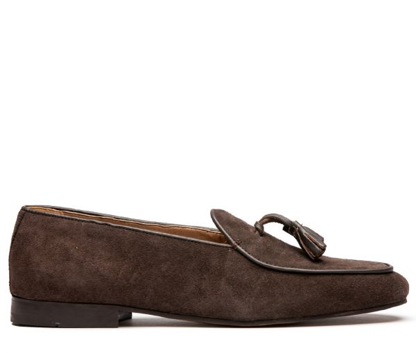 Strayhorn Suede Brown Tassel Loafer
