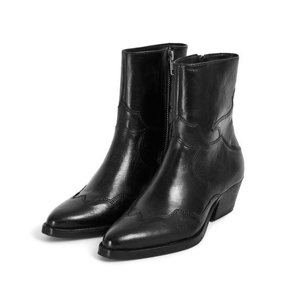 Hudson London Womens Eva Black Zip Heeled Boot Three Quarter