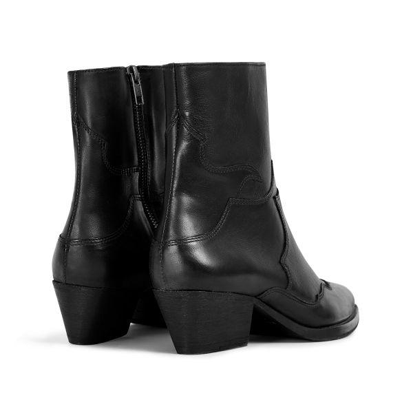 Hudson London Womens Eva Black Zip Heeled Boot Detail