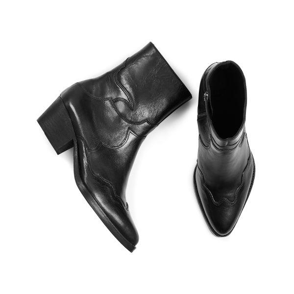 Hudson London Womens Eva Black Zip Heeled Boot Top