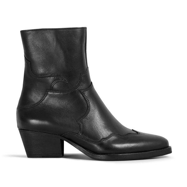 Hudson London Womens Eva Black Zip Heeled Boot Side