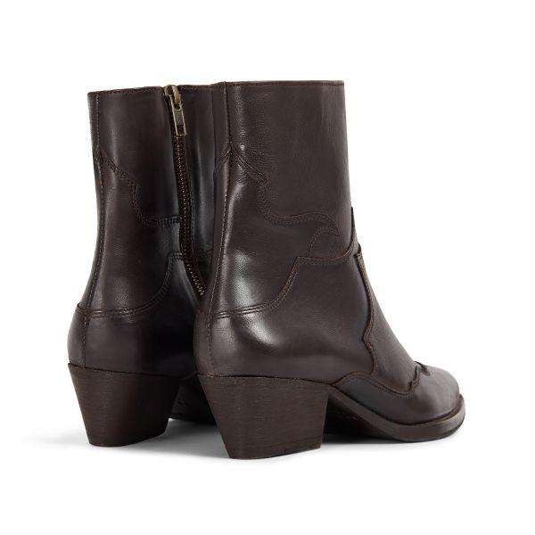 Hudson London Womens Eva Brown Zip Heeled Boot Detail