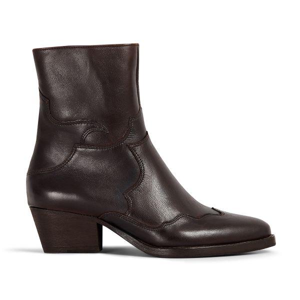 Hudson London Womens Eva Brown Zip Heeled Boot Side