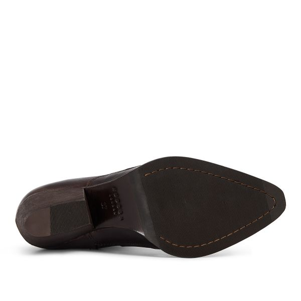 Hudson London Womens Eva Brown Zip Heeled Boot Sole