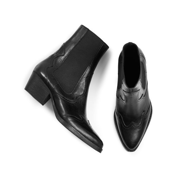 Hudson London Womens Darcey Leather Black Chelsea Boot Top