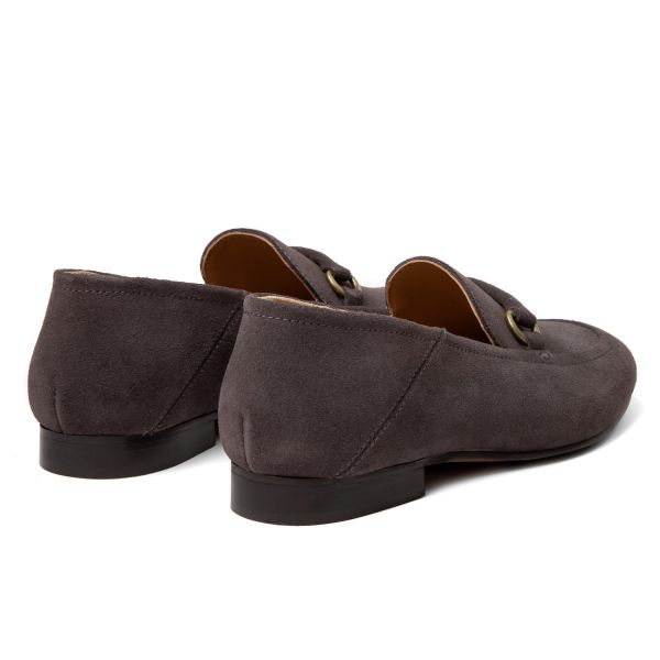 Hudson London Womens Arianna Suede Grey Loafer Detail