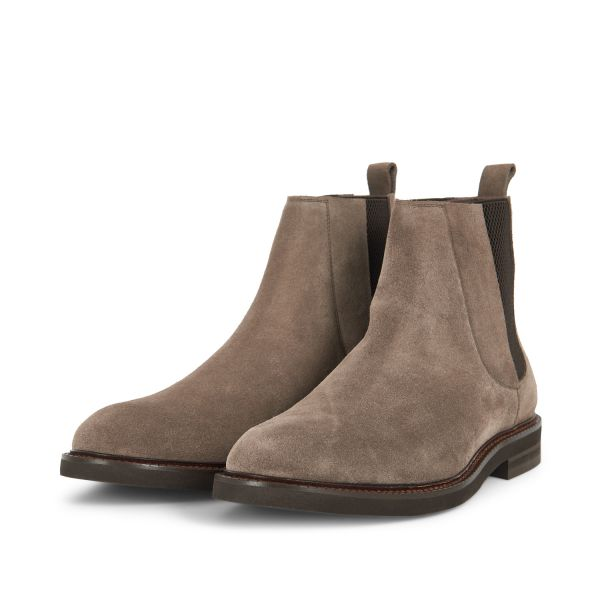 Hudson Mens Finley Suede Taupe Chelsea Boot three quarter