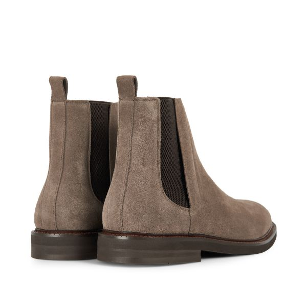 Hudson Mens Finley Suede Taupe Chelsea Boot Detail