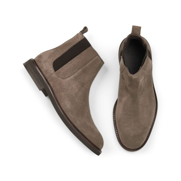 Hudson Mens Finley Suede Taupe Chelsea Boot Top
