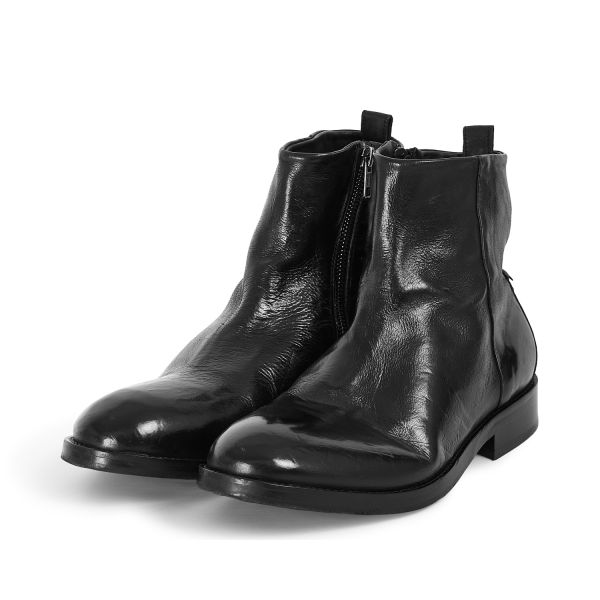 Hudson London Mens Fryatt Black Zip Boot Three Quarter