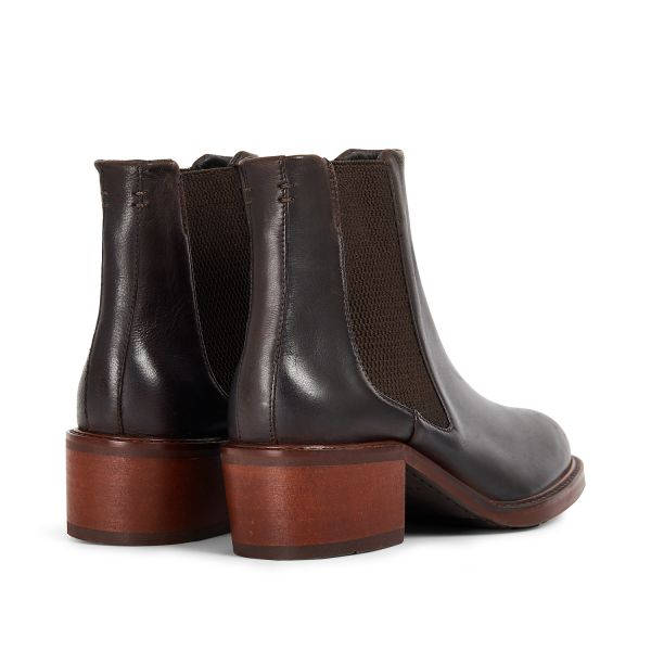 Hudson London Women's Ridley Leather Brown Chelsea Boot Detail
