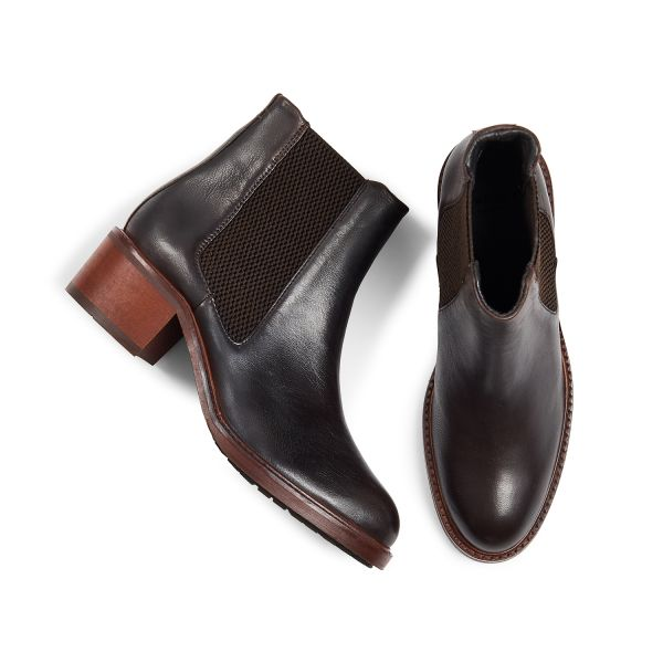 Hudson London Women's Ridley Leather Brown Chelsea Boot Top