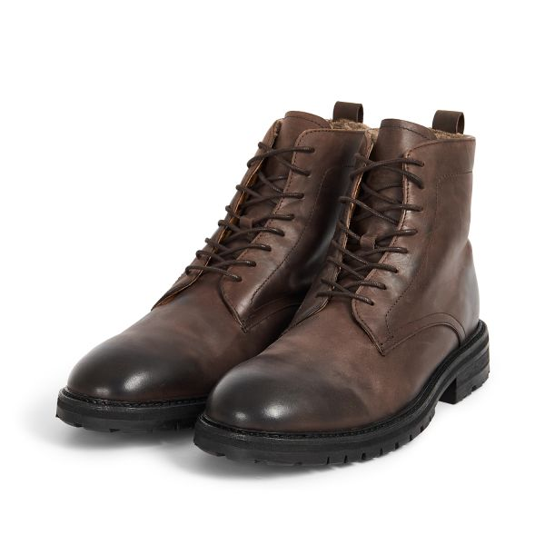 Hudson London Mens Howden Leather Brown Shearling Lace Up Boot Three Quarter