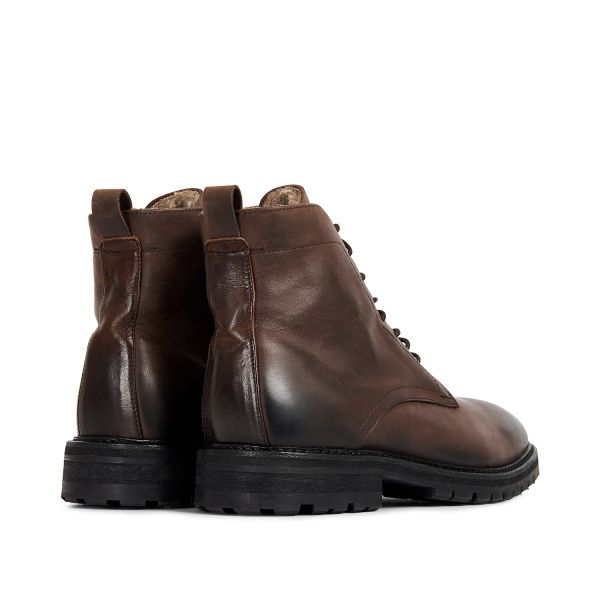 Hudson London Mens Howden Leather Brown Shearling Lace Up Boot Detail