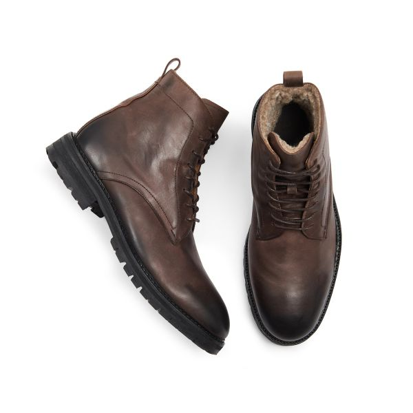 Hudson London Mens Howden Leather Brown Shearling Lace Up Boot Top