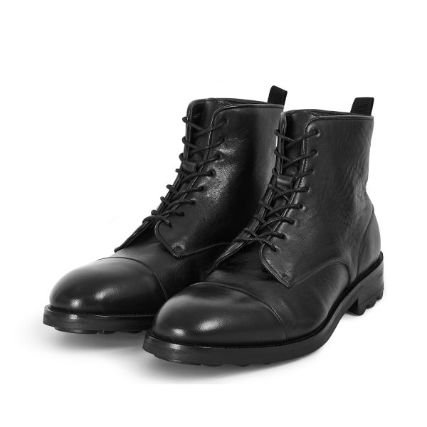 Hudson London Mens Hallet Black Boot Three Quarter